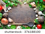 culinary wooden background with ... | Shutterstock . vector #376188100