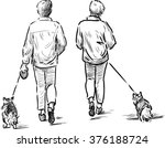 persons with their pets | Shutterstock .eps vector #376188724