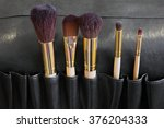 makeup brushes in a black... | Shutterstock . vector #376204333