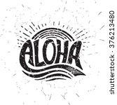 aloha surfing lettering. vector ... | Shutterstock .eps vector #376213480