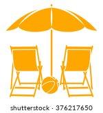 vector deck chairs under beach... | Shutterstock .eps vector #376217650