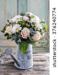 Bouquet Of Pink Roses And Whit...