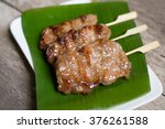 grilled pork with sweet spicy... | Shutterstock . vector #376261588