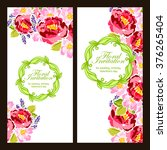 invitation with floral... | Shutterstock . vector #376265404