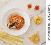 spicy shrimp pasta menu | Shutterstock . vector #376285048