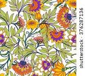 seamless floral vintage pattern.... | Shutterstock .eps vector #376287136