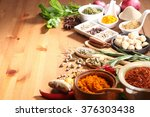assorted spices and herb on the ... | Shutterstock . vector #376303438
