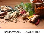 assorted spices and herb on the ... | Shutterstock . vector #376303480