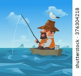 a fisherman and seagull on his... | Shutterstock .eps vector #376304218