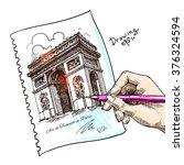 france   paris   arc de... | Shutterstock .eps vector #376324594
