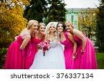 four bridesmaids having fun... | Shutterstock . vector #376337134