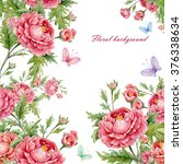 floral background with roses...   Shutterstock . vector #376338634