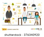 Business characters set .Group people in office | Shutterstock vector #376340920