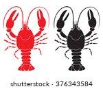 two crayfish silhouette vector... | Shutterstock .eps vector #376343584