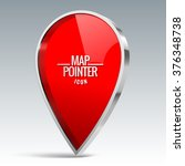 shiny gloss red map pointer... | Shutterstock .eps vector #376348738
