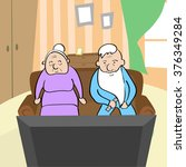 old couple watching tv senior... | Shutterstock .eps vector #376349284