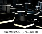 3d black surface with glowing... | Shutterstock . vector #376353148