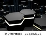 3d background with black glossy ... | Shutterstock . vector #376353178