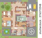 hospital vector  top view  | Shutterstock .eps vector #376373548