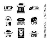 set of 9 vector  logo with ufo  ... | Shutterstock .eps vector #376375246