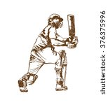 poss of hitting ball in cricket ... | Shutterstock .eps vector #376375996