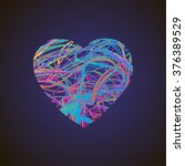 bright heart with colored lines ... | Shutterstock .eps vector #376389529