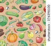 doodle pattern of vegetables   Shutterstock .eps vector #376398100