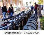 bicycle parking in the city | Shutterstock . vector #376398934