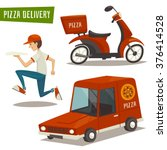 pizza delivery set with car... | Shutterstock .eps vector #376414528