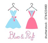 cocktail dresses blue and pink... | Shutterstock .eps vector #376423480