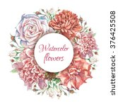 bright lush flower wreath with... | Shutterstock . vector #376425508
