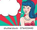 pop up girl with  speech bubble   Shutterstock .eps vector #376433440
