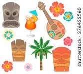 set hawaii symbols and... | Shutterstock .eps vector #376433560