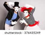 two mimes man and  woman. april ...   Shutterstock . vector #376435249