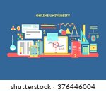 online university design flat | Shutterstock .eps vector #376446004