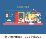 cloud hosting design | Shutterstock .eps vector #376446028