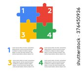 six vector jigsaw puzzle pieces | Shutterstock .eps vector #376450936