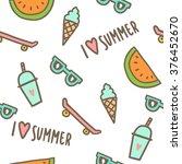 summer objects seamless pattern.... | Shutterstock .eps vector #376452670