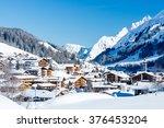 a winter village view over lech ...