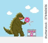 big dinosaur attacking donut... | Shutterstock .eps vector #376460656