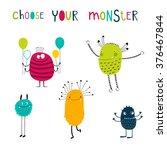 set of 5 cute monsters. vector...   Shutterstock .eps vector #376467844