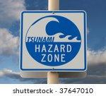 Tsunami Warning Sign With A...