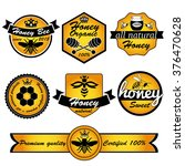 bee honey. vintage frame with... | Shutterstock .eps vector #376470628
