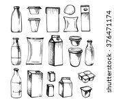 milk set of  vector pack on... | Shutterstock .eps vector #376471174