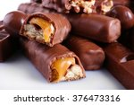 Stock photo mix of chocolate on table close up 376473316