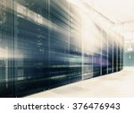 room with rows of server... | Shutterstock . vector #376476943