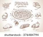 pizza with ingredients free... | Shutterstock .eps vector #376484794