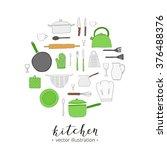 hand drawn kitchen utensils...   Shutterstock .eps vector #376488376