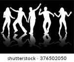 dancing people silhouettes. | Shutterstock .eps vector #376502050