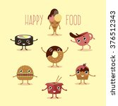 happy fast food with hands and... | Shutterstock .eps vector #376512343